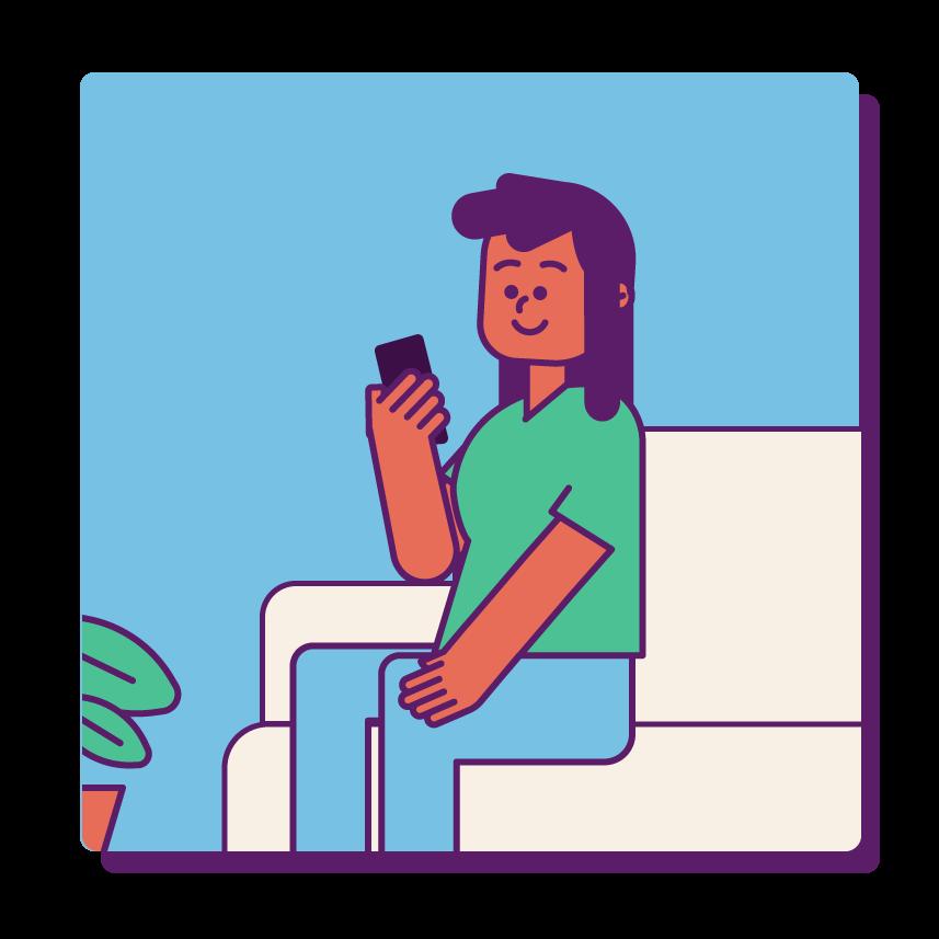 Pessoa contente usando o celular.