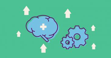 Ilustração de um cérebro e de engrenagens, representando a saúde mental e a produtividade, respectivamente. Ao redor delas, há várias setas para cima indicando aumento.